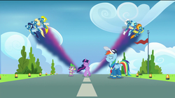 Size: 1920x1080 | Tagged: safe, screencap, rainbow dash, silver lining, silver zoom, soarin', spike, spitfire, surprise, twilight sparkle, alicorn, dragon, pegasus, pony, the last problem, spoiler:s09e26, cap, clothes, cloud, eyes closed, female, flag, flight trail, flying, goggles, hat, light, male, mare, rainbow dashs coaching whistle, runway, runway lights, speed trail, stallion, tree, twilight sparkle (alicorn), uniform, whistle, winged spike, wonderbolts, wonderbolts uniform