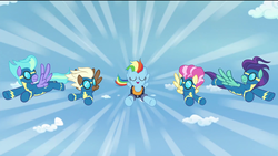 Size: 1920x1080 | Tagged: safe, edit, edited screencap, screencap, candy cloud, monsoon season, rainbow dash, storm chaser, swift vanilla, updraft, pegasus, pony, the last problem, background pony, captain of the wonderbolts, clothes, cloud, female, flying, future wonderbolt, happy, male, mare, older, older rainbow dash, removed eyebag edit, smiling, stallion, uniform, wonderbolts, wonderbolts uniform