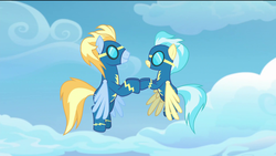 Size: 1920x1080 | Tagged: safe, screencap, lightning streak, misty fly, pegasus, pony, the last problem, spoiler:s09e26, clapping, clothes, cloud, female, flying, male, mare, out of context, stallion, uniform, wonderbolts, wonderbolts uniform