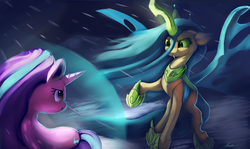 Size: 4200x2500 | Tagged: safe, artist:auroriia, queen chrysalis, starlight glimmer, changeling, changeling queen, unicorn, the ending of the end, :t, digital art, female, looking at each other, magic, scene interpretation, starlight vs chrysalis, ultimate chrysalis