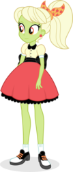 Size: 378x886 | Tagged: safe, artist:punzil504, granny smith, equestria girls, clothes, digital art, female, granny smith's scarf, ponytail, poodle skirt, saddle shoes, shoes, simple background, smiling, socks, solo, transparent background, young granny smith, younger