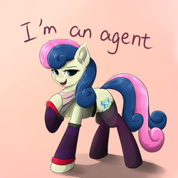 Size: 1024x1024 | Tagged: safe, artist:d.w.h.cn, derpibooru exclusive, bon bon, sweetie drops, earth pony, pony, adorabon, bandana, bedroom eyes, clothes, cute, female, mare, open mouth, raised hoof, secret agent sweetie drops, shirt, socks, solo, stockings, striped socks, t-shirt, thigh highs