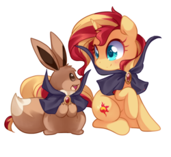 Size: 950x870   Tagged: safe, artist:loyaldis, sunset shimmer, eevee, pony, unicorn, cape, clothes, crossover, cute, digital art, duo, female, halloween, heart eyes, holiday, mare, pokémon, shimmerbetes, simple background, smiling, transparent background, wingding eyes