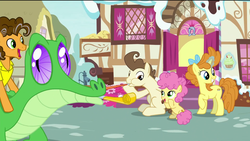 Size: 1920x1080 | Tagged: safe, screencap, cheese sandwich, gummy, li'l cheese, pound cake, pumpkin cake, alligator, earth pony, pegasus, pony, unicorn, the last problem, spoiler:s09e26, bow, cake twins, colt, cupcake, female, foal, food, hair bow, happy, horseshoes, levitation, magic, magic aura, magic glow, male, mare, older, older cheese sandwich, older gummy, older pound cake, older pumpkin cake, party horn, siblings, smiling, sugarcube corner, telekinesis, twins