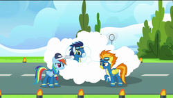 Size: 1920x1080 | Tagged: safe, screencap, rainbow dash, soarin', spitfire, pegasus, pony, the last problem, spoiler:s09e26, clothes, cloud, female, goggles, light, male, mare, rainbow dashs coaching whistle, ring, runway, runway lights, stallion, tree, uniform, wonderbolts, wonderbolts uniform