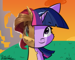Size: 1353x1086 | Tagged: safe, artist:artiks, artist:vanillaghosties, sunset shimmer, twilight sparkle, best pony, collaboration, female, fusion, looking at you, mare, smiling, we have become one, what has magic done
