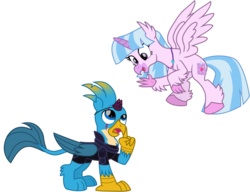 Size: 10902x8388 | Tagged: safe, artist:ejlightning007arts, gallus, silverstream, griffon, hippogriff, broken horn, clothes, costume, eye scar, fake cutie mark, fake horn, female, flying, gallstream, halloween, holiday, horn, implied tempest shadow, implied tempestlight, implied twilight sparkle, male, nightmare night, roleplaying, scar, shipping, simple background, straight, transparent background, vector