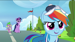 Size: 1920x1080 | Tagged: safe, screencap, rainbow dash, spike, twilight sparkle, alicorn, dragon, pegasus, pony, the last problem, spoiler:s09e26, cap, clothes, concerned, confident, confused, flag, happy, hat, light, rainbow dashs coaching whistle, runway, runway lights, smiling, tree, twilight sparkle (alicorn), uniform, winged spike, wonderbolts uniform