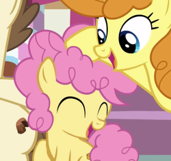 Size: 770x726 | Tagged: safe, edit, edited screencap, screencap, li'l cheese, pound cake, pumpkin cake, pony, the last problem, spoiler:s09e26, cake twins, cropped, hoof on head, siblings, twins