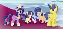 Size: 1280x585 | Tagged: safe, artist:elementbases, artist:flamango, artist:malachitebases, artist:purplepotato04, artist:s-oujiisan, artist:sunriseauburn, comet tail, twilight sparkle, oc, oc:astral, oc:harmony shield, oc:nebula star, alicorn, pony, alicorn oc, baby, baby pony, base used, colt, cometlight, ethereal mane, family, female, filly, male, next generation, offspring, parent:comet tail, parent:twilight sparkle, parents:cometlight, shipping, straight, twilight sparkle (alicorn)