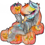 Size: 1273x1274 | Tagged: safe, artist:sadonax, oc, oc:aurelia coe, earth pony, pony, clothes, halloween, holiday, pumpkin, socks, solo, traditional art, watercolor painting