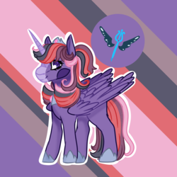 Size: 1500x1500 | Tagged: safe, artist:grateful-dead-raised, alicorn, pony, next generation, offspring, parent:prince blueblood, parent:twilight sparkle, parents:twiblood, solo