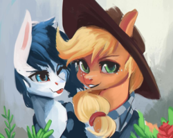 Size: 799x636 | Tagged: safe, artist:hierozaki, applejack, oc, oc:constance everheart, earth pony, pony, canon x oc, clothes, everjack, female, foliage, male, scarf, shared clothing, shared scarf, shipping, smiling, straight, tongue out