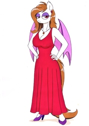 Size: 2468x3495 | Tagged: safe, artist:killerteddybear94, oc, unnamed oc, bat pony, anthro, bat pony oc, breasts, cleavage, clothes, dress, ear piercing, earring, female, hand on hip, jewelry, looking at you, mother, necklace, piercing, red dress, shoes, traditional art, wings