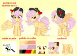 Size: 2144x1580 | Tagged: artist:2pandita, female, hat, mare, oc, oc:tender mist, pegasus, pony, reference sheet, safe, solo