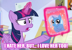 Size: 1000x700 | Tagged: a horse shoe-in, alicorn, book, female, hate, helga pataki, hey arnold, lesbian, lord tirek, love, queen chrysalis, reference, safe, shipping, spoiler:s09e20, trixie, tsundere, twilight sparkle, twilight sparkle (alicorn), twixie