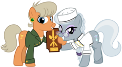 Size: 4000x2200 | Tagged: safe, artist:cheezedoodle96, ms. harshwhinny, silver spoon, earth pony, pony, .svg available, alternate clothes, award, beauty mark, blushing, braid, chef, chef outfit, chef's hat, clothes, excited, eyeshadow, female, future, glasses, happy, hat, headcanon, jacket, looking at you, makeup, mare, mlp fim's ninth anniversary, older, older silver spoon, ponytail, raised hoof, shirt, simple background, svg, transparent background, vector