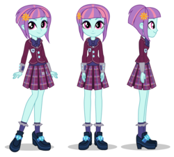 Size: 1400x1260 | Tagged: safe, sunny flare, equestria girls, bowtie, bracelet, clothes, crystal prep academy, crystal prep academy uniform, crystal prep shadowbolts, hairpin, high heels, high quality, jewelry, legs, looking at you, official, plaid skirt, pleated skirt, poses, school uniform, shoes, side view, simple background, skirt, smiling, socks, transparent background, turnaround, uniform, vector