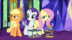 Size: 1920x1080 | Tagged: safe, screencap, applejack, fluttershy, rarity, bird, earth pony, hummingbird, pegasus, pony, spider, star spider, unicorn, the last problem, spoiler:s09e26, bird cage, cage, female, mare, sewing machine, smiling