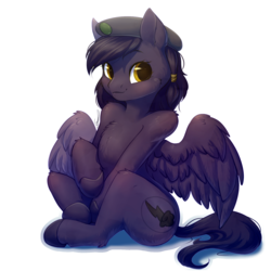 Size: 1900x1900 | Tagged: safe, artist:peachmayflower, edit, oc, oc only, oc:mir, pegasus, pony, fallout equestria, beret, commission, cropped, dashite, female, hat, human shoulders, looking at you, mare, simple background, sitting, sticker, transparent background, white outline