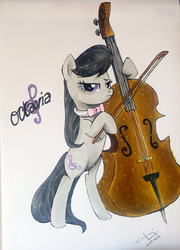 Size: 1728x2396 | Tagged: safe, artist:jenyeongi, octavia melody, earth pony, pony, bow (instrument), cello, cello bow, female, mare, musical instrument, solo, traditional art