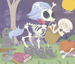 Size: 2272x1942 | Tagged: safe, artist:nignogs, skellinore, oc, oc:anon, ghost, pony, skeleton pony, spider, the break up breakdown, blushing, bone, book, boots, bucket, cloud, cute, grave, grave digging, grave robber, grave robbing, gravestone, graveyard, implied anon, implied shipping, moon, necromancy, pumpkin, reversed gender roles equestria, shoes, shovel, skeleton, skellibetes, tree