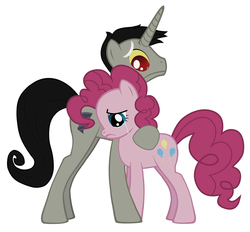 Size: 2608x2416 | Tagged: safe, discord, pinkie pie, comforting, crying, discopie, female, husband and wife, male, mare, pony discord, sad, shipping, stallion, straight