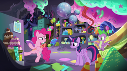 Size: 1920x1080 | Tagged: safe, screencap, pinkie pie, spike, twilight sparkle, alicorn, dragon, pony, the last problem, spoiler:s09e26, party cave, twilight sparkle (alicorn), winged spike