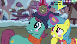 Size: 1280x738 | Tagged: safe, edit, edited screencap, screencap, autumn leaf, lemon hearts, a hearth's warming tail, arrow, awwtumn leaf, blushing, captain obvious, clothes, cute, female, hat, hearth's warming decorations, lemonbetes, lemonleaf, male, mistletoe, scarf, shipping, snow, straight, sweater, text
