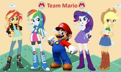 Size: 1568x938 | Tagged: safe, artist:deathnyan, artist:masem, artist:sugar-loop, artist:vg805smashbros, applejack, rainbow dash, rarity, sunset shimmer, human, equestria girls, barely eqg related, crossover, eqg promo pose set, maridash, mario, nintendo, super mario bros., team