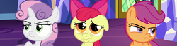 Size: 2726x720 | Tagged: safe, edit, screencap, apple bloom, scootaloo, sweetie belle, pony, growing up is hard to do, spoiler:s09e22, cutie mark crusaders, floppy ears, frown, panorama, pouting, twilight's castle
