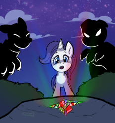 Size: 1487x1604 | Tagged: safe, artist:soulcentinel, rarity, diamond dog, unicorn, fanfic:twin fates, cover art, cute, female, filly, gem, male, night, story in the source, young