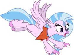 Size: 6326x4680 | Tagged: safe, edit, vector edit, silverstream, classical hippogriff, hippogriff, aang, avatar silverstream, avatar the last airbender, clothes, cosplay, costume, flying, simple background, spread wings, transparent background, vector, wings