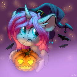 Size: 1600x1600 | Tagged: safe, artist:lilacclime, oc, oc only, oc:tarot, bat, pony, unicorn, blue eyes, clothes, female, glowing eyes, halloween, hat, holiday, long ears, mare, night, pink hair, pumpkin, smiling, solo, stars, unshorn fetlocks, witch, witch hat, ych result
