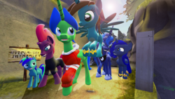 Size: 2000x1125 | Tagged: safe, artist:johnnyxluna, derpy hooves, oc, oc:camron, oc:flarine, oc:lunete, oc:prince lightning chaser, pony, 3d, bonding time, clothes, family, flying, hoodie, looking at each other, mama tempest, maternaluna, parent, parent:princess luna, parent:tempest shadow, sign, source filmmaker, sunshine, walking