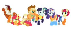 Size: 3252x1466 | Tagged: safe, artist:flipwix, artist:icey-wicey-1517, color edit, edit, applejack, autumn blaze, coloratura, rarity, strawberry sunrise, torque wrench, earth pony, kirin, pegasus, pony, unicorn, alternate hairstyle, apple, apple wrench, applejack gets all the mares, applejack's hat, applerise, autumberry colorarijack, autumberrywrench colorarijack, autumnjack, belt, boots, bow, bracelet, button, choker, clothes, collaboration, colored, cowboy hat, cute, dress, ear piercing, earring, eyeshadow, female, food, freckles, grin, hair bow, harem, hat, headband, hoodie, jeans, jewelry, lesbian, makeup, mare, missing cutie mark, open mouth, pants, piercing, polyamory, ponytail, rainbow socks, raised hoof, raised leg, rarajack, rarijack, ribbon, shipping, shirt, shoes, simple background, skirt, smiling, socks, stetson, strawberry, striped socks, sweater, transparent background, wall of tags