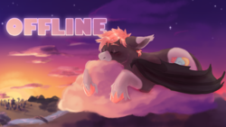 Size: 2556x1440 | Tagged: safe, artist:cosmichorse, oc, oc only, oc:cosmic dream, bat pony, pony, bat wings, cloud, digital art, digital painting, male, on a cloud, painting, picarto, ponysona, sleeping, sleeping on cloud, solo, stallion, stars, sunset, unshorn fetlocks, wings