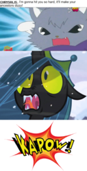 Size: 796x1561 | Tagged: safe, artist:mega-poneo, edit, edited screencap, screencap, queen chrysalis, cat, changeling, changeling queen, the ending of the end, angry, anime, comic, crossover, dialogue, dian, female, jewelpet, kapow, mega poneo strikes again, meme, mulan, oh crap, punch, sanrio, screencap comic, sega, ultimate chrysalis, yao