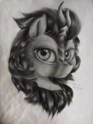 Size: 1080x1440 | Tagged: safe, artist:henry forewen, autumn blaze, kirin, pony, bust, female, looking at you, sketch