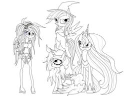 Size: 3300x2550   Tagged: safe, artist:great-5, princess luna, rainbow dash, oc, oc:helia, oc:stargazer, galarian ponyta, ponyta, unicorn, equestria girls, clothes, costume, cute, dashabetes, hairclip, hat, lightmare, lineart, lunabetes, nightmare night, nightmare night costume, ocbetes, pokémon, safhira, witch hat