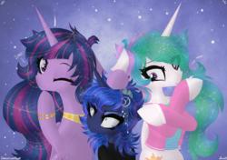 Size: 4542x3204 | Tagged: safe, artist:darkest-lunar-flower, princess celestia, princess luna, twilight sparkle, alicorn, pony, the last problem, spoiler:s09e26, clothes, female, mare, one eye closed, princess twilight 2.0, royal sisters, size difference, smol, tongue out, trio, twilight sparkle (alicorn), wink