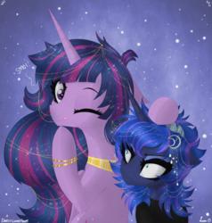 Size: 3342x3504 | Tagged: safe, artist:darkest-lunar-flower, princess luna, twilight sparkle, alicorn, pony, the last problem, spoiler:s09e26, clothes, duo, female, mare, one eye closed, princess twilight 2.0, tongue out, twilight sparkle (alicorn), wink
