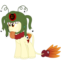 Size: 894x894 | Tagged: artist:besttubahorse, beholder, clothes, costume, female, freckles, halloween, halloween costume, hybrid, nightmare night costume, oc, oc:chimie changa, oc only, original species, pegaphoenix, safe, simple background, solo, transparent background, unshorn fetlocks, vector