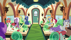 Size: 1920x1080 | Tagged: amethyst star, ballet jubilee, colt, dawnlighter, derpy hooves, earth pony, female, filly, friendship express, friendship student, goldy wings, green sprout, loganberry, male, mare, midnight snack (character), pegasus, peppe ronnie, rainberry, rainbow stars, roseluck, safe, screencap, siblings, silver script, sisters, sitting, sparkler, spoiler:s09e26, stallion, star bright, tender brush, the last problem, train, unicorn, winter lotus