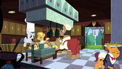 Size: 1920x1080 | Tagged: background pony, balancing, canterlot, chef, chef outfit, chef's hat, clothes, colt, continuity, cook, earth pony, frying pan, gordon ramsay, gourmand ramsay, hat, hors d'oeuvre, kitchen, male, pegasus, pony, port wine, pot, rumble, safe, screencap, spoiler:s09e26, stallion, suspenders, the last problem, tuxedo, unicorn, unnamed pony, waiter