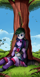 Size: 1536x2983 | Tagged: safe, artist:pridark, twilight sparkle, oc, oc:loyal wing, alicorn, human, equestria girls, canon x oc, clothes, commission, female, leg warmers, male, miniskirt, panties, pants, pleated skirt, shipping, shoes, skirt, smiling, tree, twilight sparkle (alicorn), underwear, upskirt, white panties, white underwear