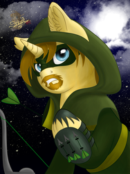 Size: 603x800 | Tagged: arrow, artist:unisoleil, oliver queen, ponified, pony, safe