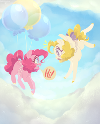 Size: 1500x1852 | Tagged: artist:physisinwonderland, balloon, bow, cloud, colored hooves, duo, earth pony, floating, flying, pegasus, pinkie pie, pony, safe, speech bubble, surprise, tail bow, then watch her balloons lift her up to the sky