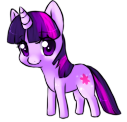 Size: 385x371 | Tagged: safe, artist:ninetail-fox, twilight sparkle, pony, unicorn, chibi, cute, cutie mark, eye clipping through hair, female, looking at you, mare, simple background, smiling, solo, transparent background, twiabetes, unicorn twilight