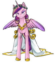 Size: 1147x1300 | Tagged: safe, artist:ninetail-fox, princess cadance, queen chrysalis, alicorn, changeling, changeling queen, pony, a canterlot wedding, clothes, disguise, disguised changeling, dress, eyeshadow, fake cadance, female, floral head wreath, flower, lidded eyes, looking at you, makeup, mare, simple background, slit eyes, slit pupils, smiling, smirk, solo, spread wings, transparent background, wedding dress, wings